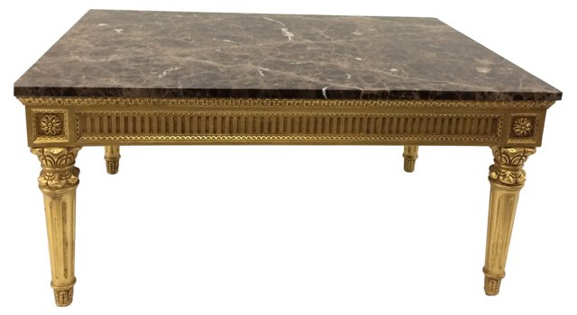 Louis XVI-Style Marble-Top Coffee Table