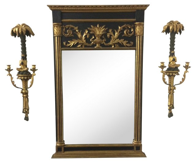 Carved Regency Mirror & Sconces, 3 Pcs