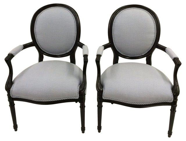 Loius XVI-Style  Armchairs, Pair