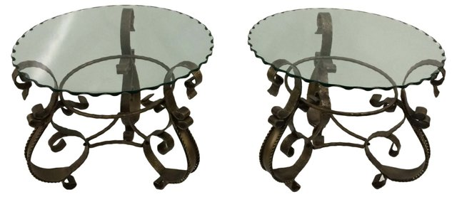 Round Wrought Iron Tables, Pair