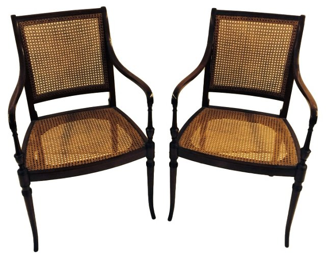 Mahogany Regency-Style  Chairs, Pair
