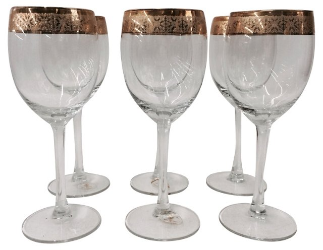 Italian Gold-Band Goblets, S/6