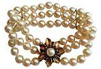 Sapphire & Pearl Flower Clasp Bracelet