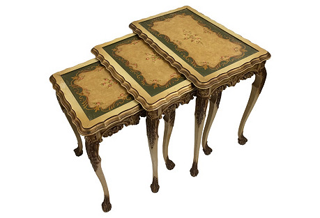 Painted Nesting Tables, S/3
