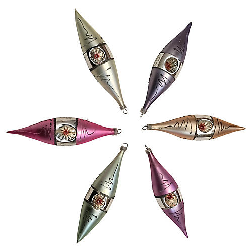 Austrian Teardrop Ornaments, S/6