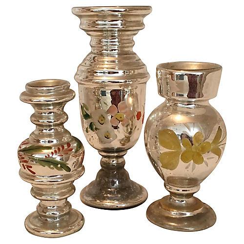 Mercury Glass Vases, S/3