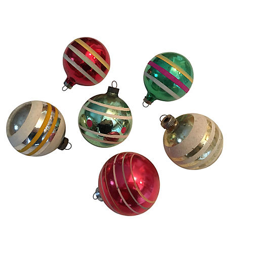 Striped Glass Ornaments, S/6