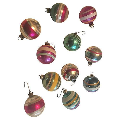 Shiny Brite Striped Ornaments, S/12