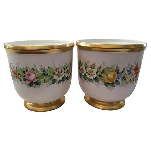 Hand-Painted Cachepots, Pair