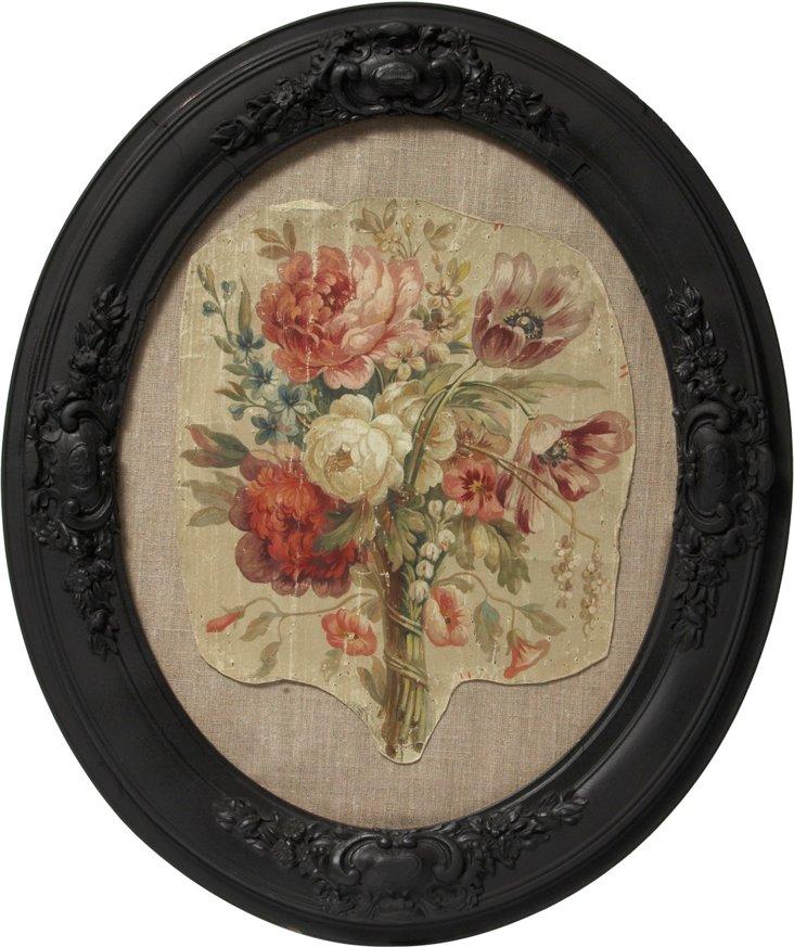 Framed French Tapestry Cartoon, C. 1780