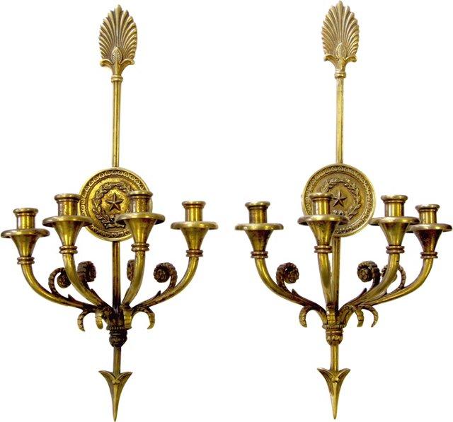 Empire-Style Bronze Candle Sconces, Pair