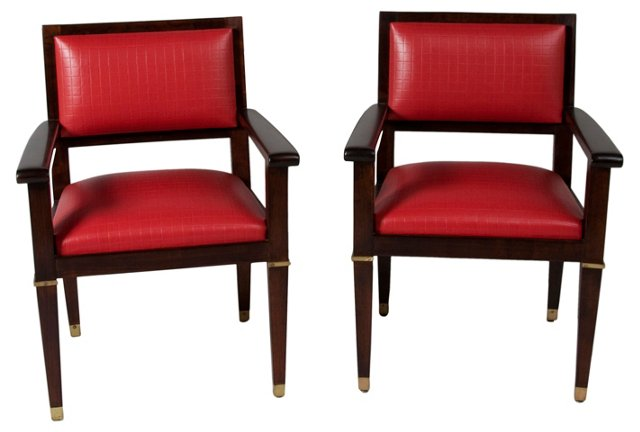 Jacques Adnet Desk Chairs, Pair