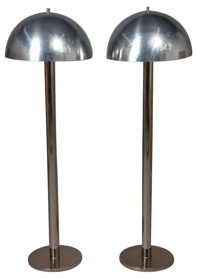 Dome Floor Lamps, Pair