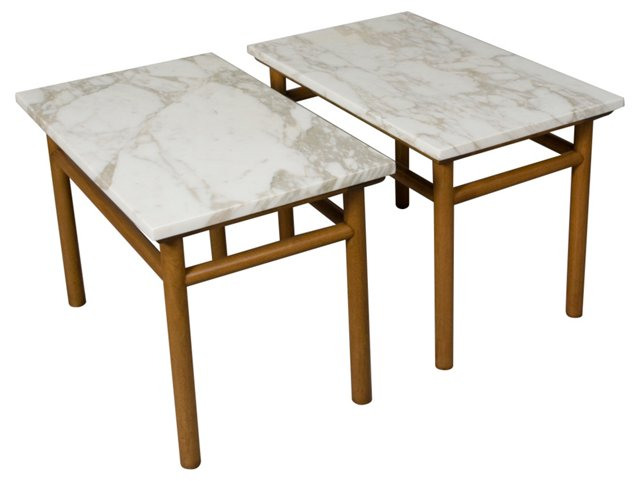 Marble End Tables by Gibbings, Pair