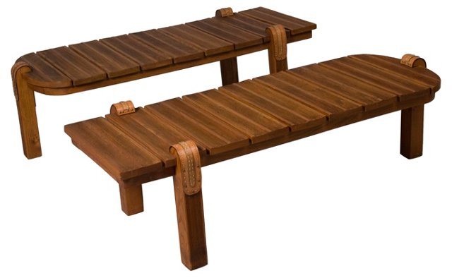 Oak & Leather Tables by J. Adnet, Pair
