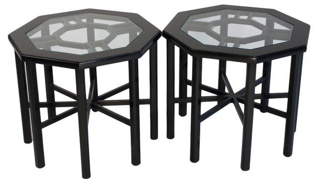 Black Octagonal Tables, Pair