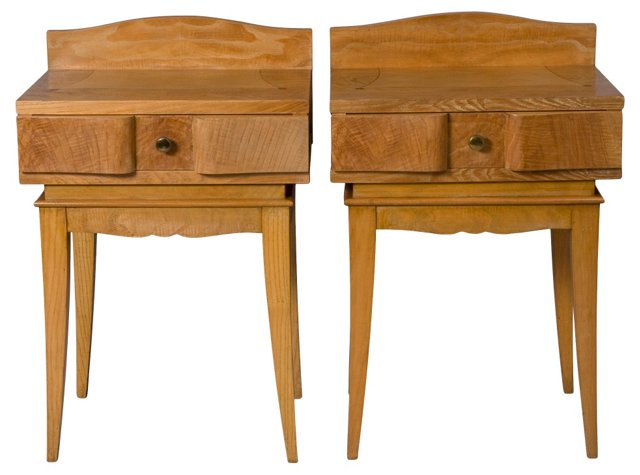 Oak Inlay End Tables, French 1940s