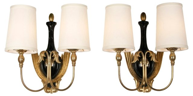 French 1940s Carved Gilt Sconces, Pair