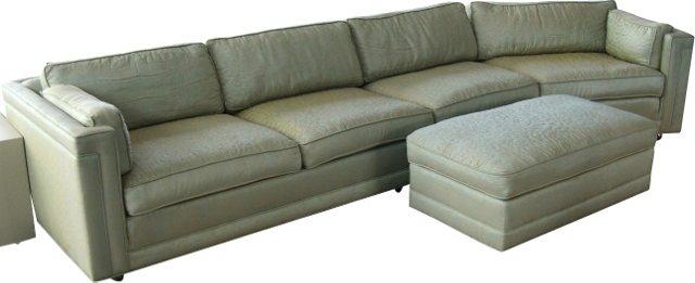 1960s Custom Sofa & Ottoman, 3 Pcs