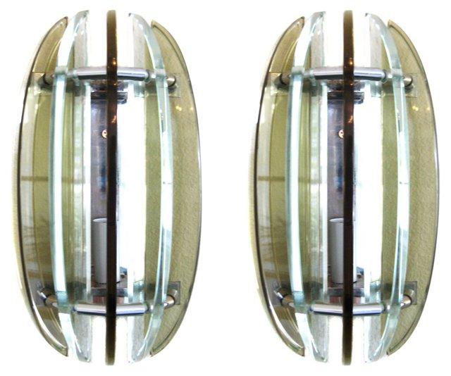 Italian Glass & Chrome Sconces, Pair