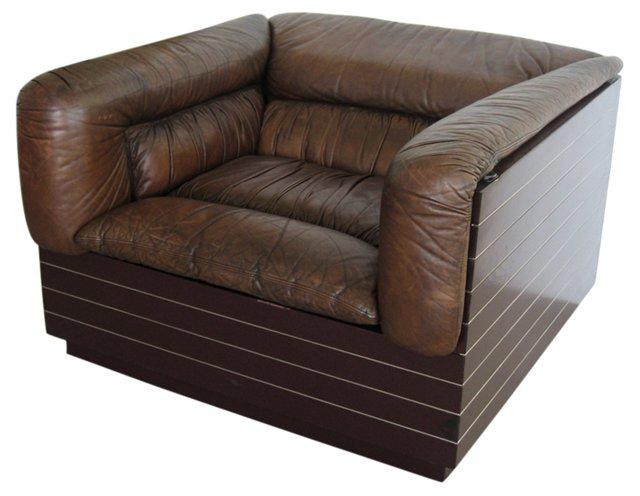 Italian Leather Lounge Chair by Saporiti