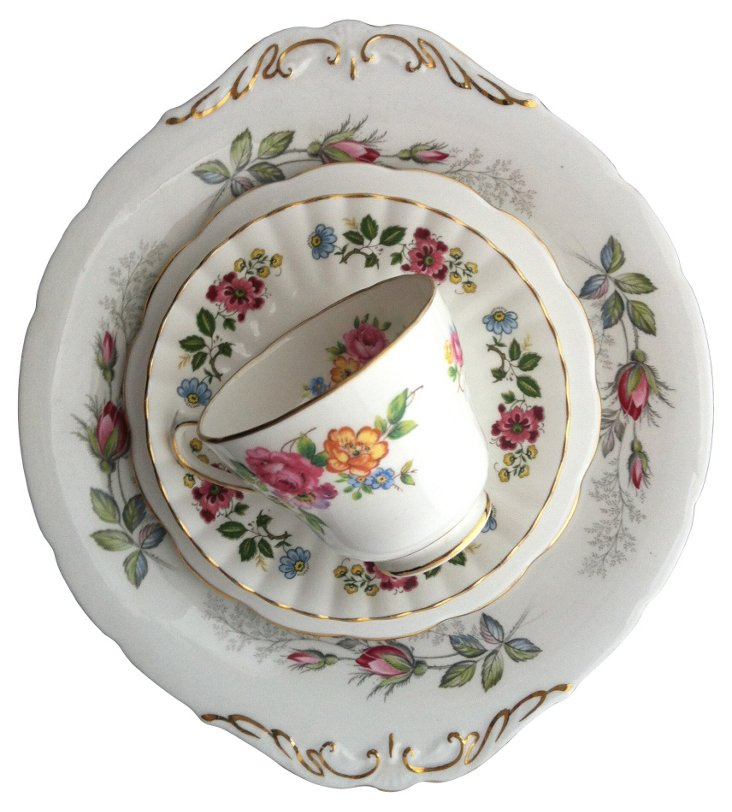 Rose Plate w/ Floral China, 4 Pcs