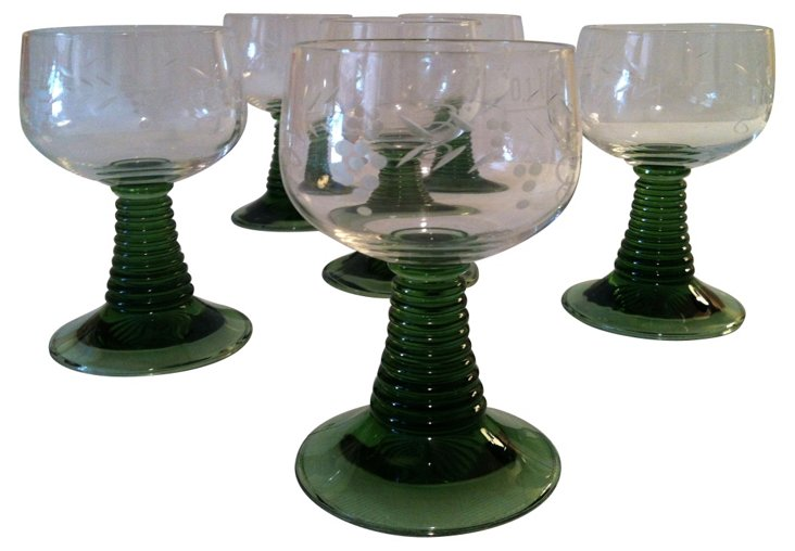 Etched French Goblets, S/6