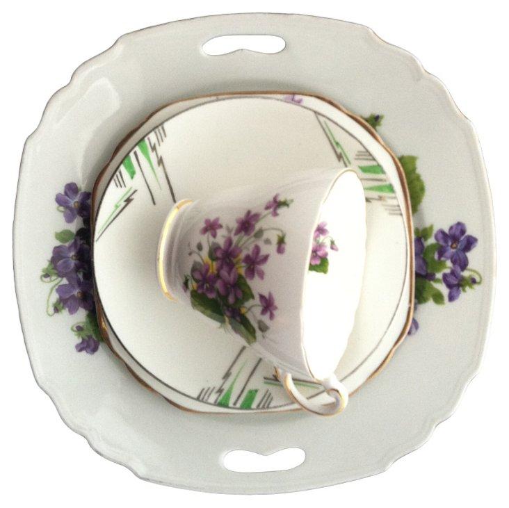 Purple Floral w/ Deco Saucer, 4 Pcs