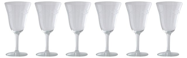 Floral Etched Wine Glasses, S/6