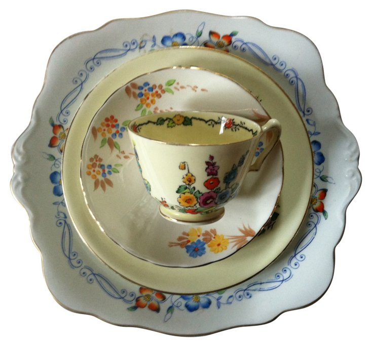 ***Need to find Yellow Floral  China, 4 Pcs