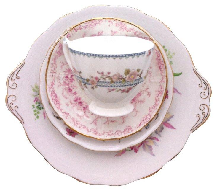 Sweet Pink & Floral China, 4 Pcs