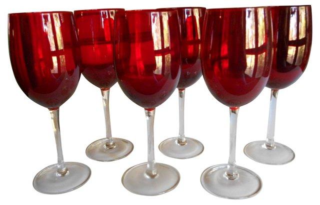 Red Wine Glasses, Set of 6