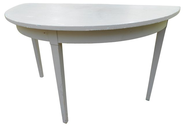 French Gray  Demilune Table