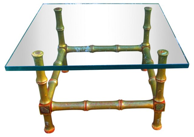 Faux-Bamboo Glass-Top  Table