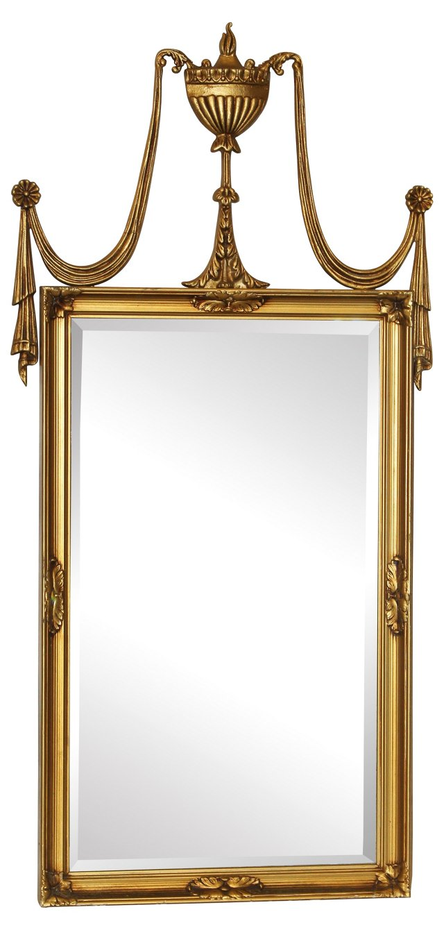 Double Drape with Urn Top on Mirror