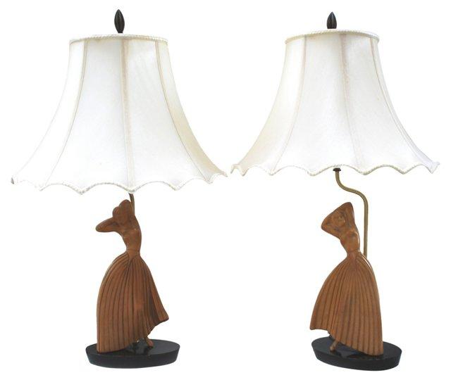 Heifetz Modern Dancer Lamps, Pair