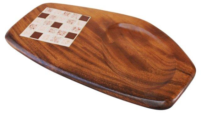 Danish Modern Teak & Tile Platter