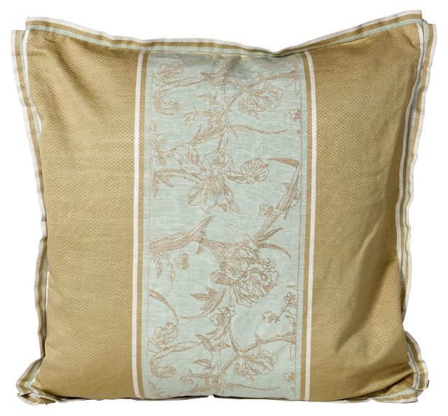 Silk Floral-Stripe Pillow