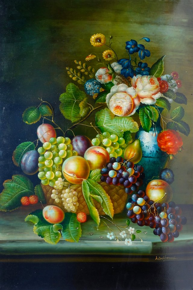 Still Life w/ Fruit & Flowers