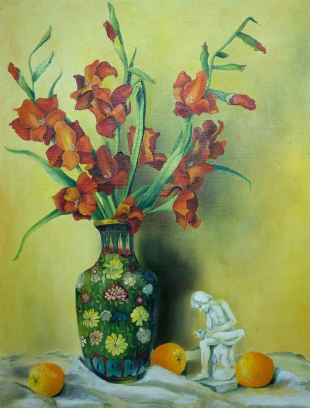 Irises in Cloisonné Vase