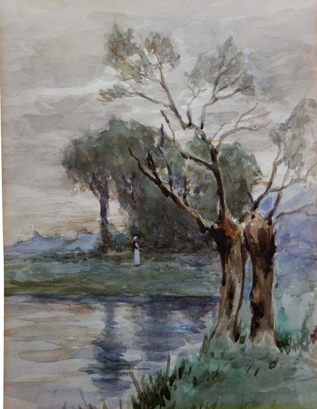 19th-C. Landscape w/ Woman