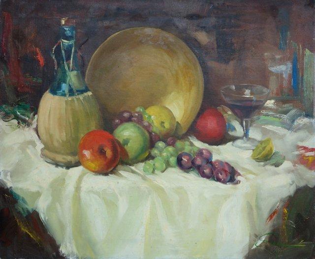 Still Life w/ Fruit & Wine