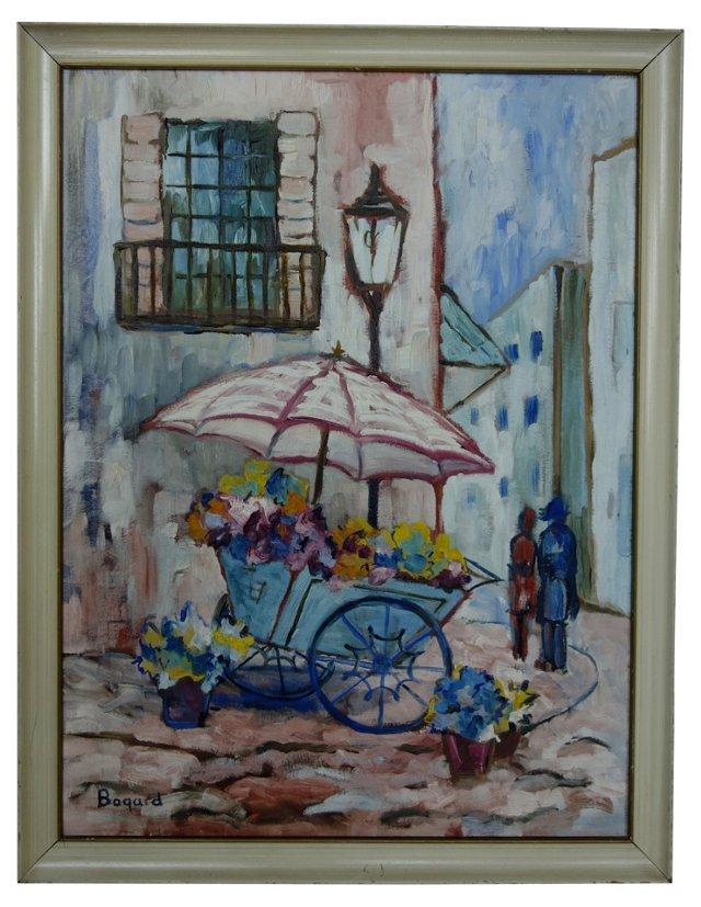 Flower Cart On Vanilla Street Corner