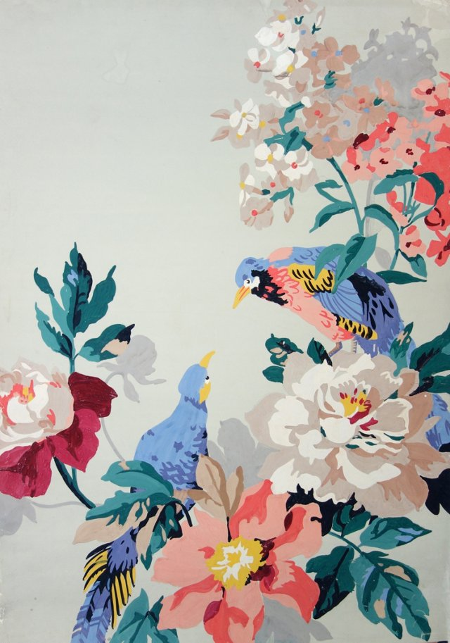 Bird & Floral Wallpaper Study