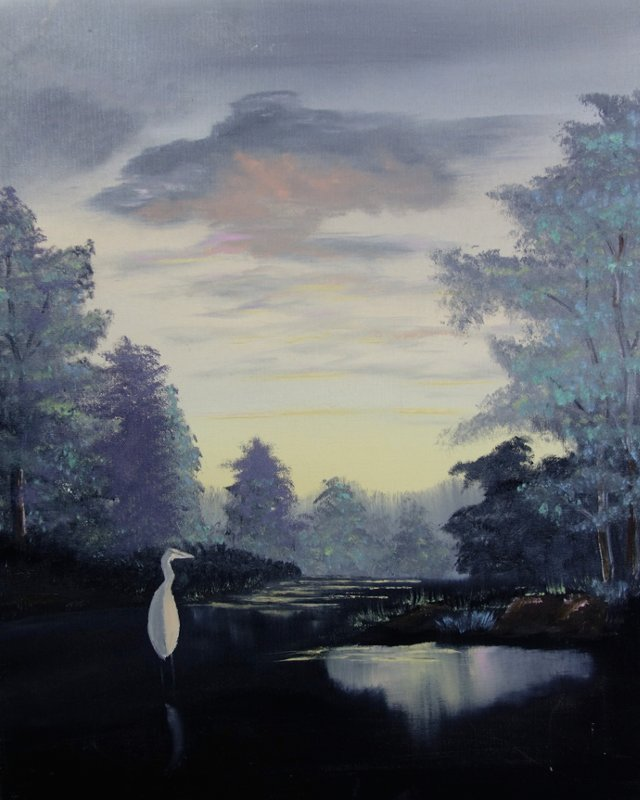 Evening Scene w/ White Heron