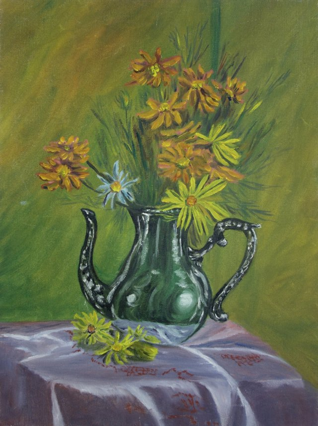 Daisies in Silver Teapot