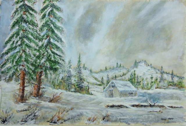 Snowy Cabin Among the Pines