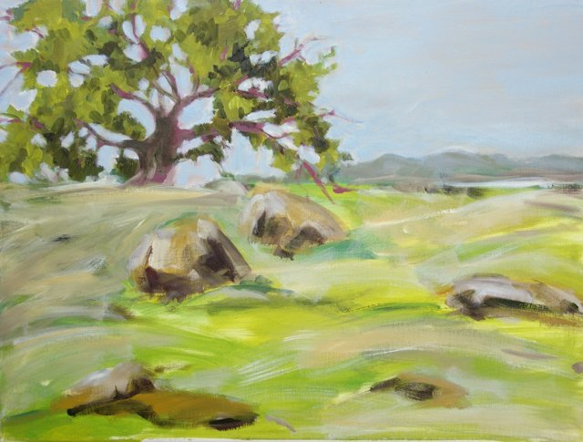 Green Meadow & Tree by Barbara Winkler