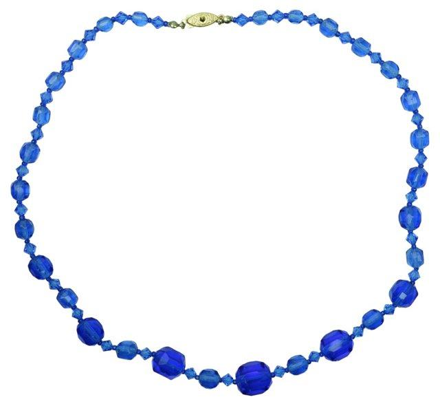 Bohemian Blue Glass Necklace