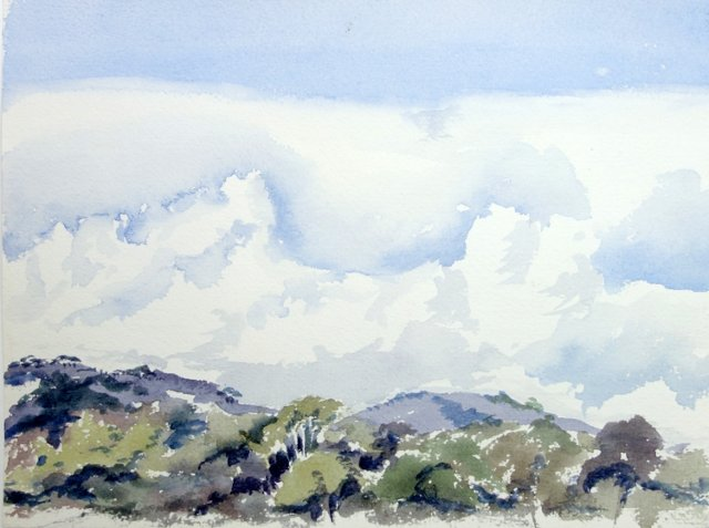 Hills Under Blue Sky by Betty Levasheff
